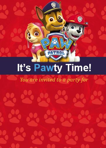 paw patrol party invitation evite