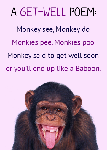 paperless e-cards and e-invitations with animal monkey funny poem