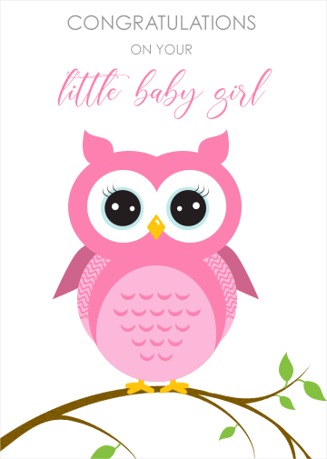 New baby girl digital ecard with owl on the front to personalise