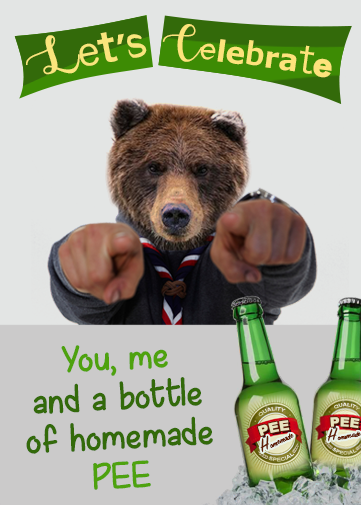 paperless e-cards and e-invitations with bear and bottle of pee