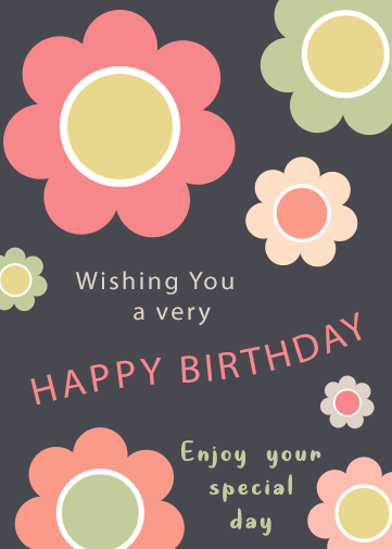 female birthday card with flowers in pink, orange, green and yellow.